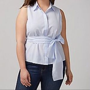 Lane Bryant Chambray Belted Top